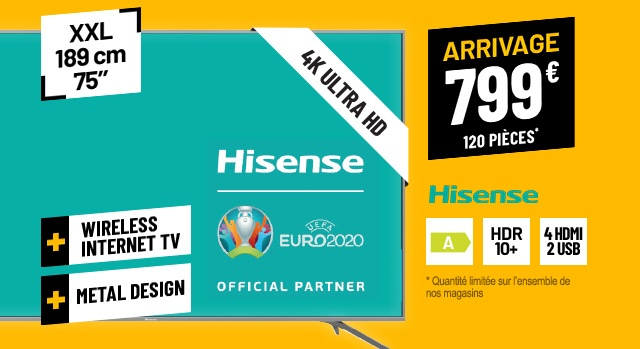 TV UHD 4K HISENSE H75B7510