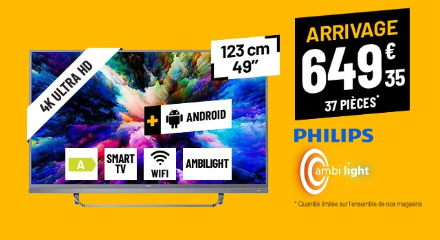 TV UHD 4K PHILIPS 49PUS7503 AMBILIGHT 3 ANDROID WIFI