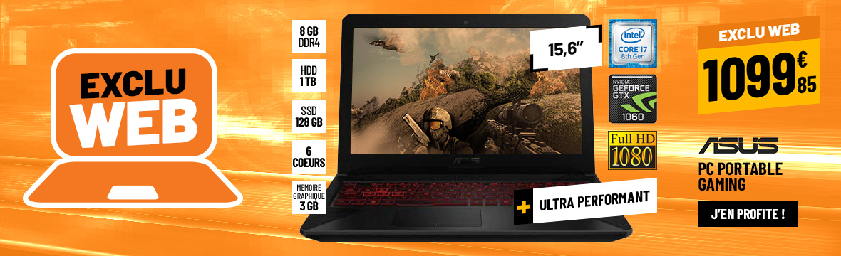 ORDINATEUR PORTABLE GAMING 15,6'' ASUS FX504GM-EN072T
