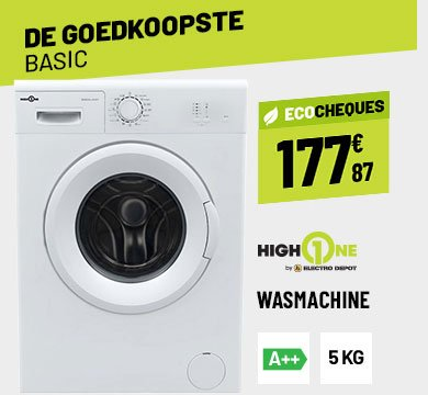 WASMACHINE FRONTLADER 5 KG HIGH ONE WM 805 A++ WVET