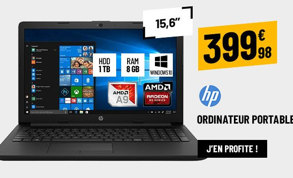ORDINATEUR PORTABLE 15,6'' HP 15-DB0037NF NOIR